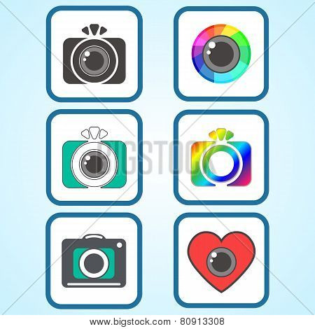 Set Of Flat Photo Camera Sign Icons