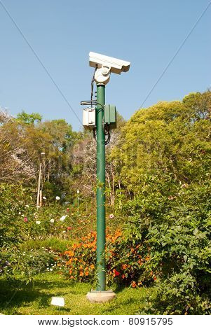 Cctv Camera. Security Camera In Park. Private Property Protection