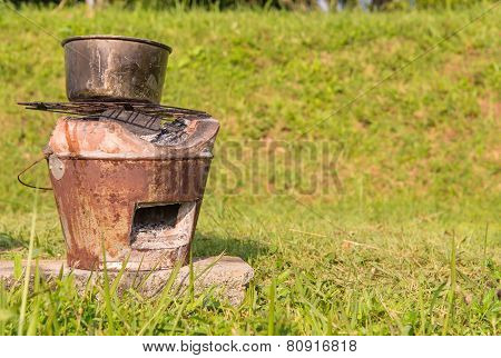 Thai Stove Brazier With Steaming Pot For Cooking On Firewood