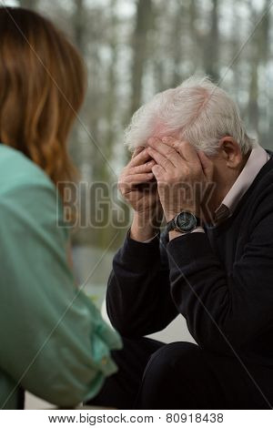 Elder Man Crying