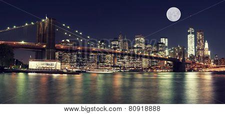 New York Skyline At Night With Moon