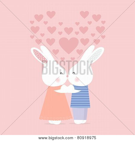 Cute rabbits kissing on a pink background