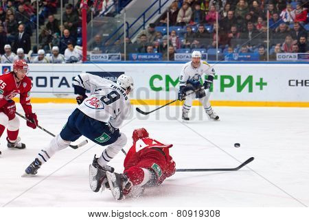 A. Kudinov (44) Fall Down On Ice