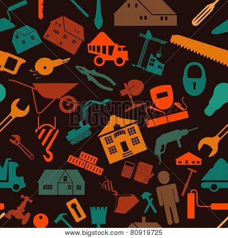 House repair and construction background. Seamless.