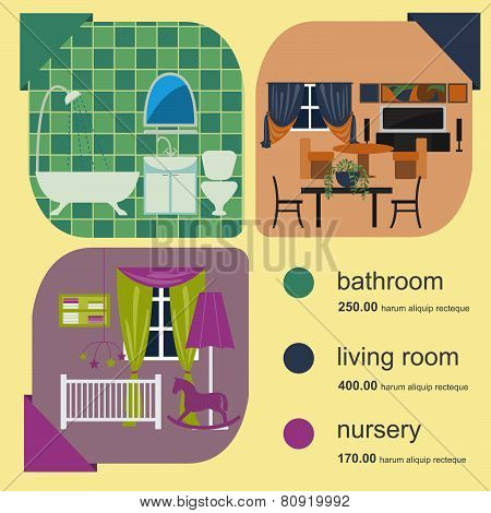 House remodeling infographic. Set interior elements for creating your infographics.