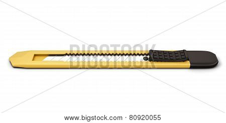 Yellow Stationery Knife Isolated On White Background.