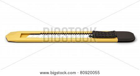 Yellow Stationery Knife Isolated On White Background.