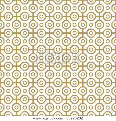 Geometric Abstract Seamless Vector Pattern with Golden Octagons
