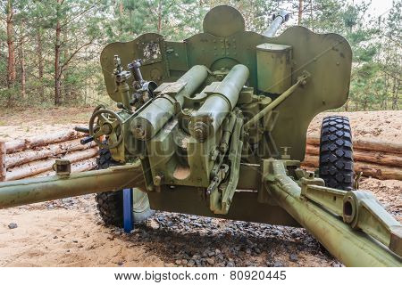 Artillery gun fired during World War II in Belarus