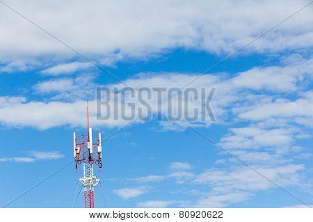 Telephone Mast On Blue Sky