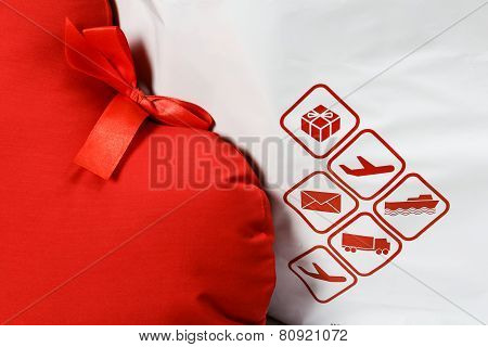 Courier Delivery Symbols And Red Heart Closeup