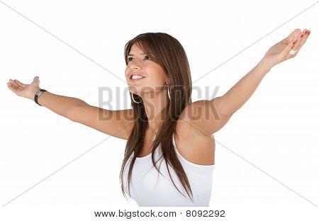Excited Woman In White