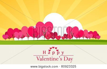 Happy Valentine's Day celebration with heart shape pink trees on rays background.