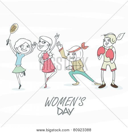 Four girls playing different roles on white background, dedicated on International Women's Day celebration.