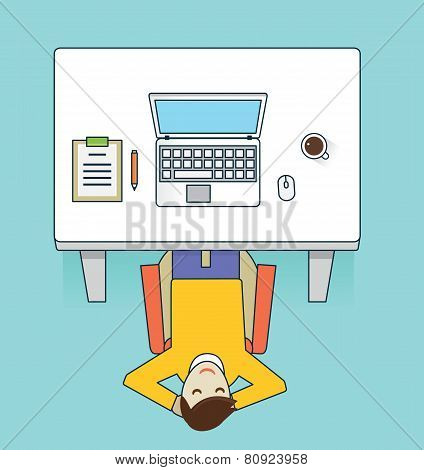 Vector Flat Illustration Recreation Of Businessman