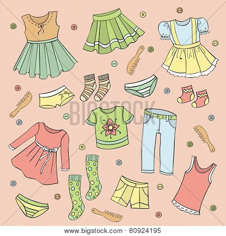 Set Of Children's Clothes, Vector Design Elements