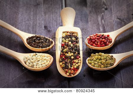 Mixed Peppercorns In A Wooden Spoon