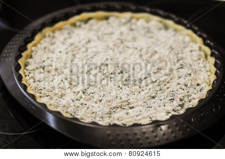 Preparation Of The Pie With Cottage Cheese And Feta And Parsley