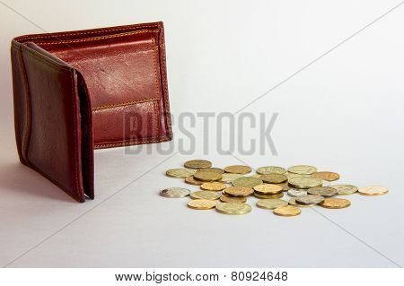 Empty purse and coins