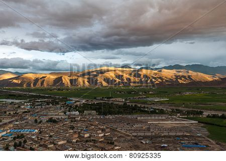 Aerial View Of Gyantse County, Tibet, China