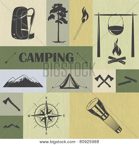 Retro camping icons set.