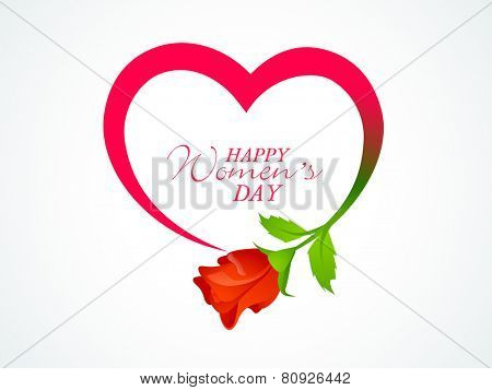 International Women's Day celebration greeting card design with heart shape and glossy rose flower on white background.