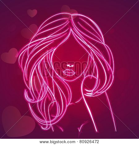 Young girl made by neon on hearts decorated purple background for Happy Women's Day celebration.