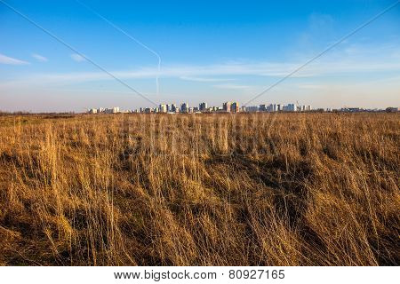 Urban Landscape. Dry Field And Kyiv In The Distance