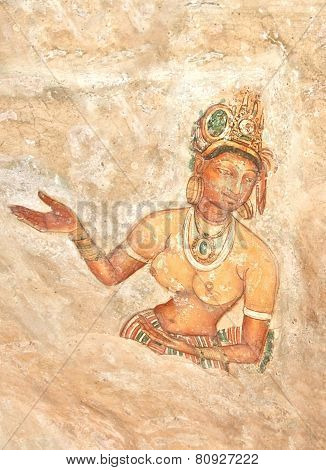 5th Century Sigiriya Rock Cave Wall Paintings, Sri Lanka