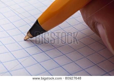 Man's Hand Making A Pen Writing