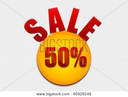Discount coupon 50 percent on a yellow circle