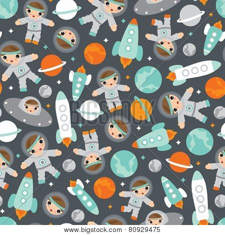 Seamless kids astronaut space and rocket science universe space planet illustration background pattern in vector