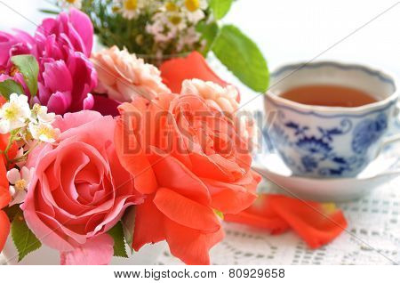 tea break with flowers