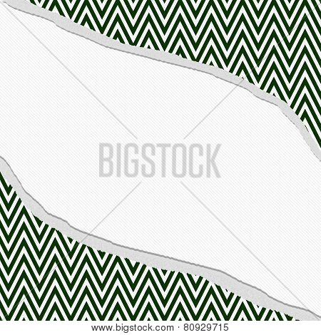 Hunter Green And White Chevron  Zigzag Frame With Torn Background