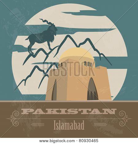 Pakistan landmarks. Retro styled image