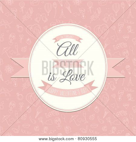 Greeting card with Festive Valentine's Day seamless pattern. All