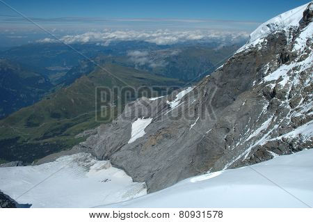 View From Jungfraujoch Pass In Alps In Switzerland