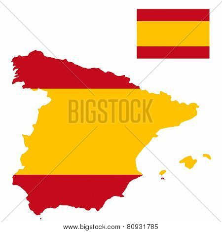 Spain - Detailed map contour and flag vector
