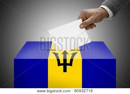Ballot Box Painted Into National Flag Colors - Barbados