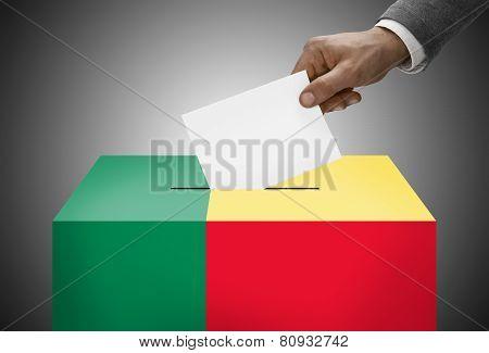 Ballot Box Painted Into National Flag Colors - Benin