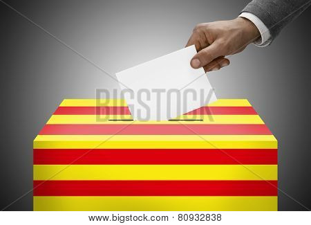 Ballot Box Painted Into National Flag Colors - Catalonia - Catalan