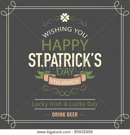 Happy St. Patrick's Day celebration poster or banner design on chalk board background.