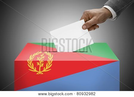 Ballot Box Painted Into National Flag Colors - Eritrea