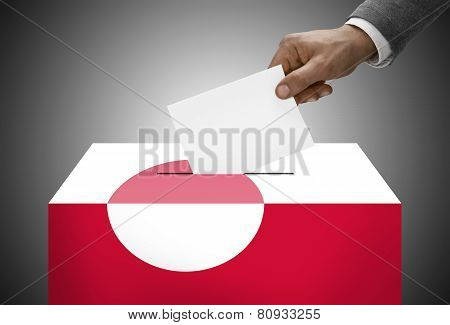Ballot Box Painted Into National Flag Colors - Greenland