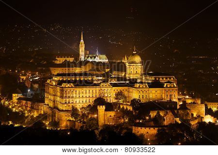 Royal Palace Or Buda Castle At Night