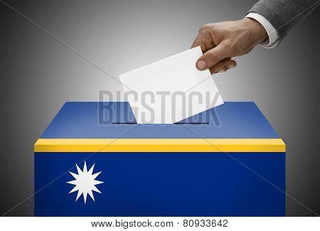 Ballot Box Painted Into National Flag Colors - Nauru
