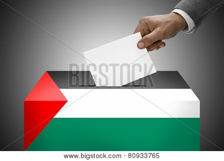 Ballot Box Painted Into National Flag Colors - Palestine