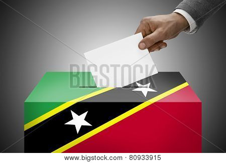 Ballot Box Painted Into National Flag Colors - Federation Of Saint Christopher And Nevis