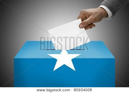 Ballot Box Painted Into National Flag Colors - Somalia