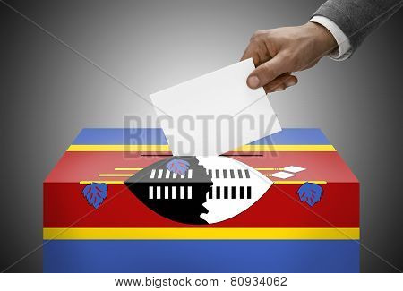 Ballot Box Painted Into National Flag Colors - Swaziland